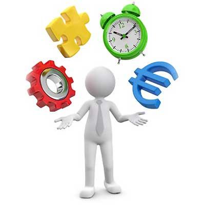 Zeitmanagement. Figur jongliert mit Uhr